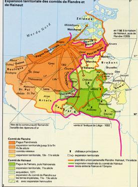 carte de France expension comtés de Flandre et de Hainaut